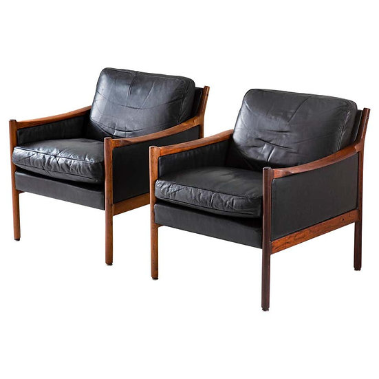 Scandinavian Midcentury Leather and Rosewood Lounge Chairs by Torbjørn Afdal