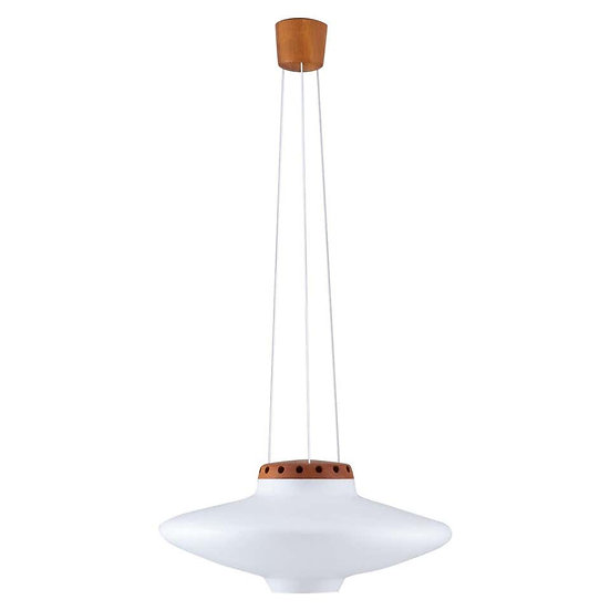 Swedish Midcentury Pendant in Oak and Opaline Glass by Luxus