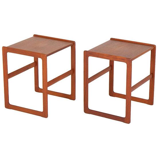 Pair of Scandinavian Midcentury Side Tables in Teak