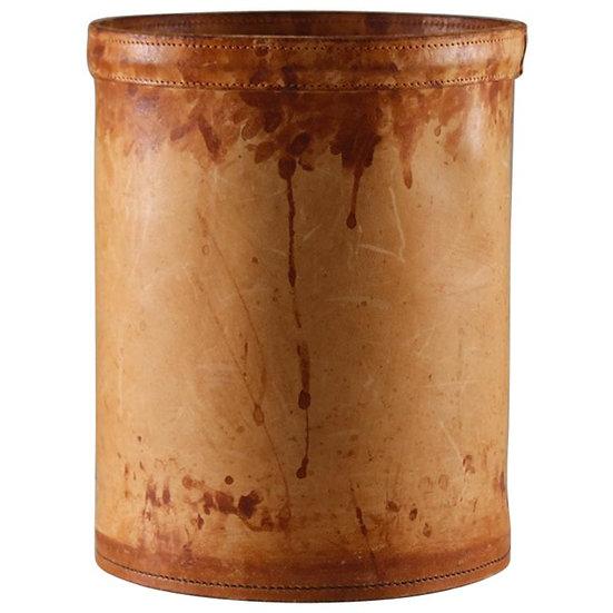 Midcentury Scandinavian Wastepaper Basket in Patinated Leather