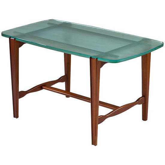 Swedish Modern Coffee Table in Mahogany and Glass, 1940s