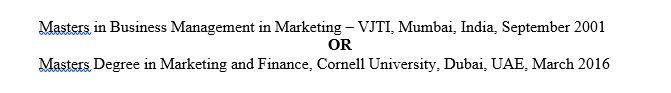 Education in CV tips