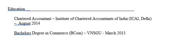 Education in CV format