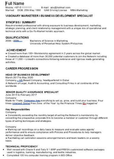 Standard CV format sample 5