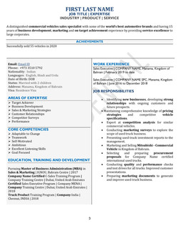 One Page Compact CV