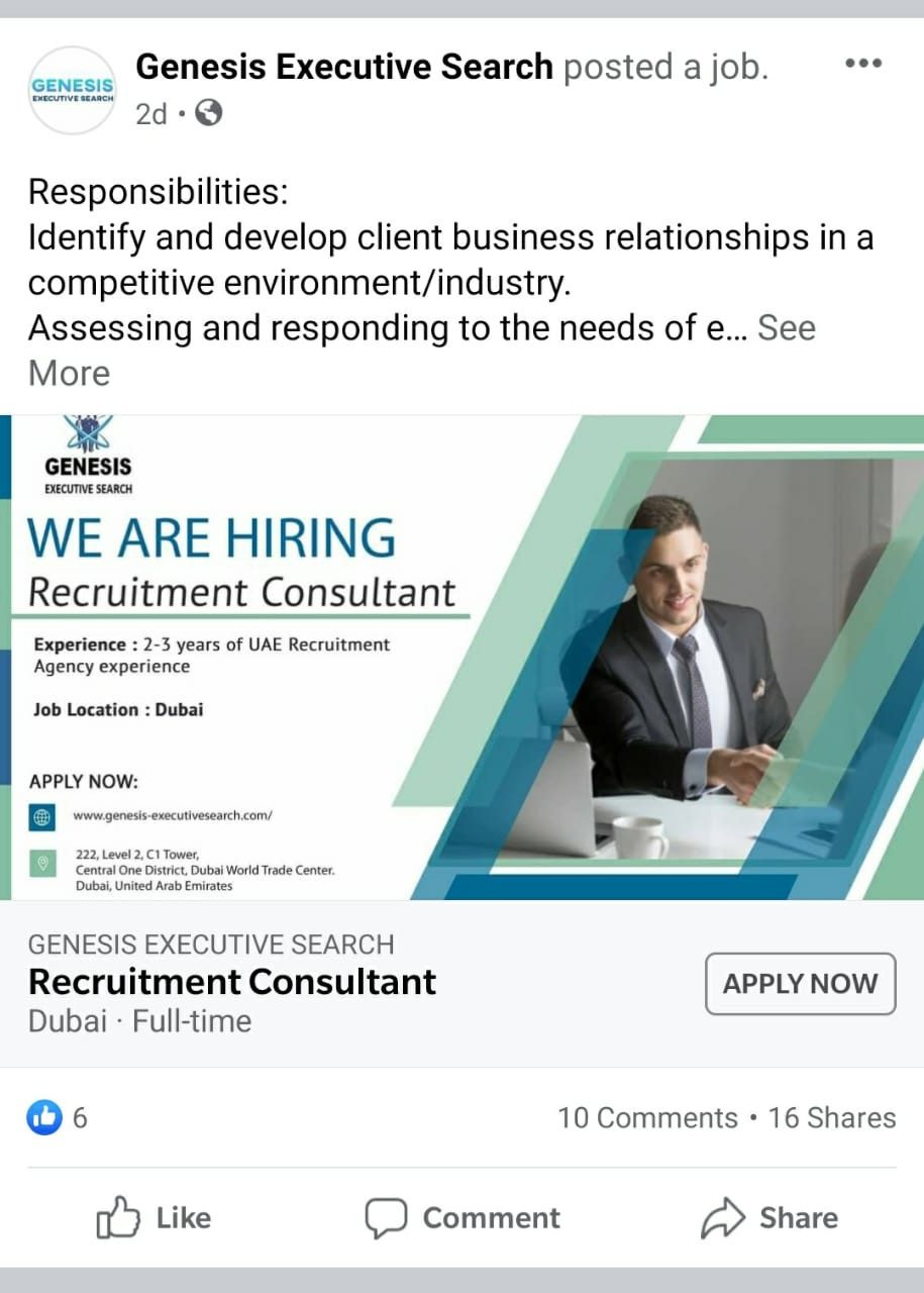 Advertisement for Job on Facebook