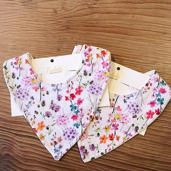 Bandana blanca flores