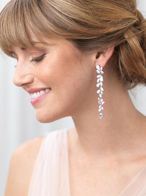 Anastasia Long Dangle CZ Earrings