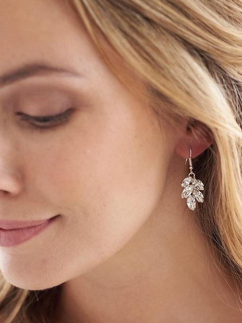 Opal & Crystal Leaf Earrings
