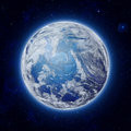 Global world in space blue planet earth with some clouds and stars in the dark sky elements of this image furnished by nasa Royalty Free Stock Photos