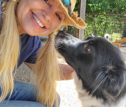 woman with dog at doggie daycare