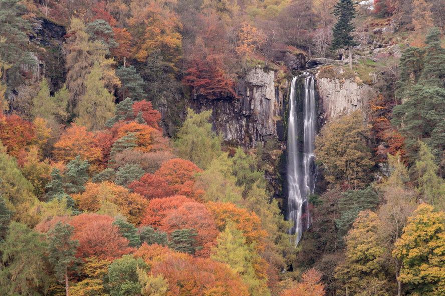 Pistyll Rhaeadr waterfall, early Autumn, North Wales
