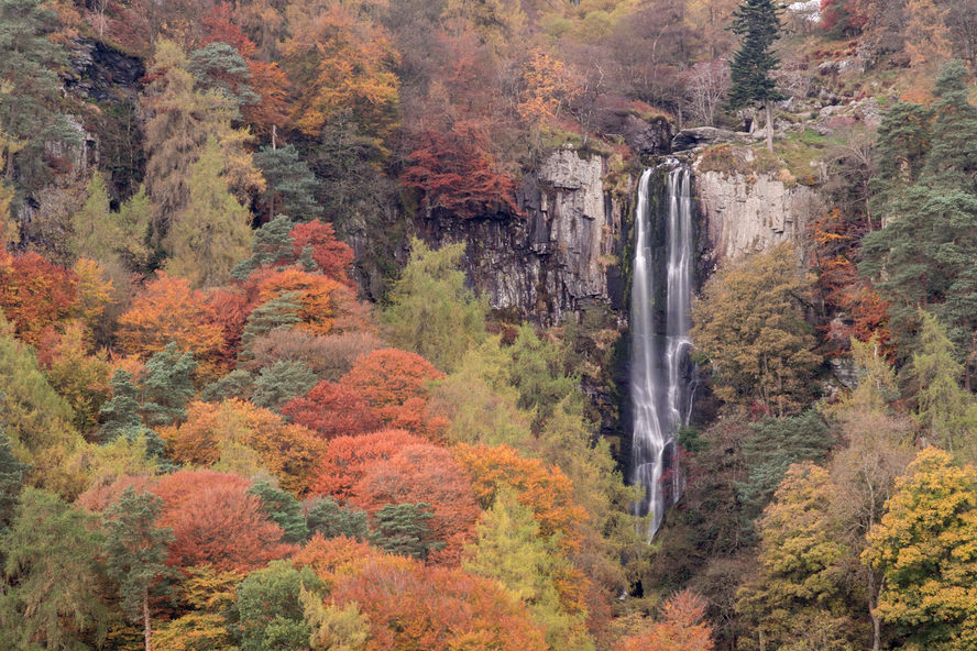 Pistyll Rhaeadr waterfall, early Autumn, North Wales