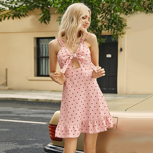 Womens Sling Polka Dot Tie Knot Dress Summer New Style V-Neck