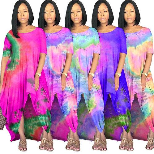 2020 Hot Sale Women  Flowery Draped Dress Tie Dye Loose