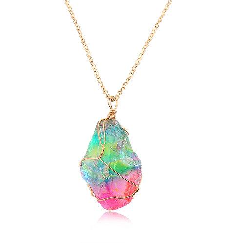Chakra Gold Plated Quartz Pendant Necklace