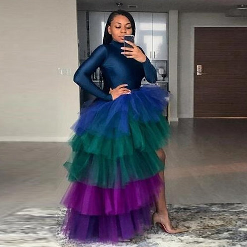 Multi Color High Low Tulle Skirts High Street Custom Made Long