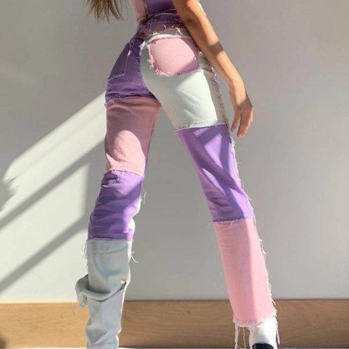 Woman Patchwork Skinny Straight Leg Jeans Mid Waist Denim