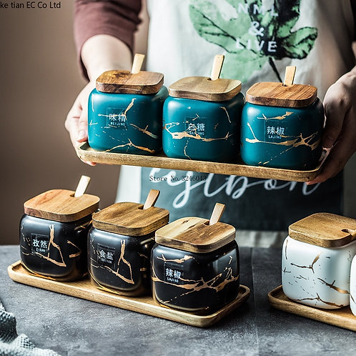 Nordic Matte Marbled Ceramic Herbs Cans