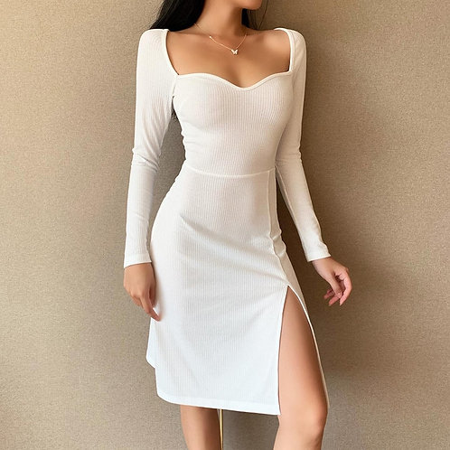 Slim Women Knitted Drees Sexy Square Collar Longsleeves