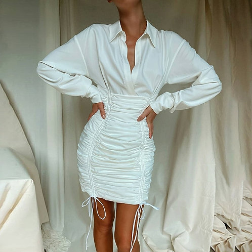 Long Sleeve Woman Dress Casual Solid Color