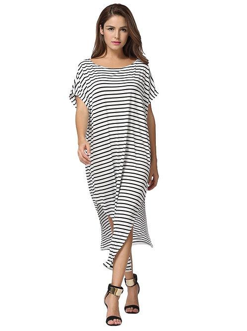 Plus Size 5XL Striped Dress Women Summer Casual Loose