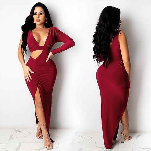 Sexy Deep-V Neck High Split Women Evening Drees Party Solid Elegant Dress
