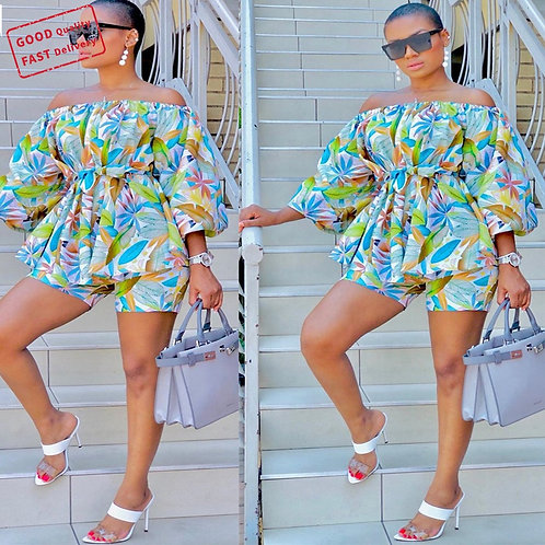 GQ2863 Plus Size Short Sets Women Two Piece Printed One