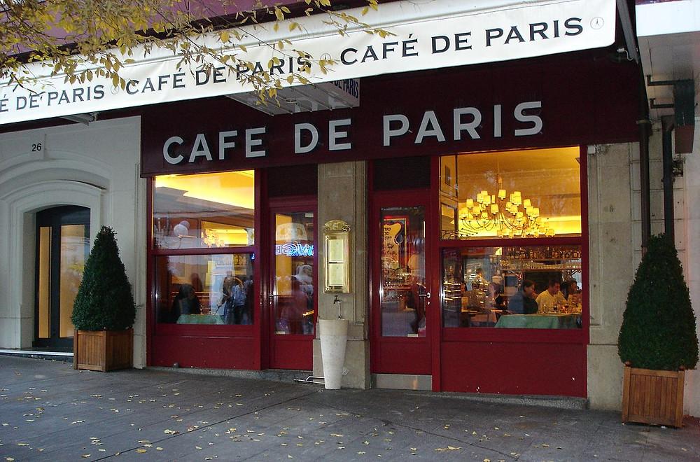 El Café de París de la calle Mont Blanc en Ginebra (Suiza).