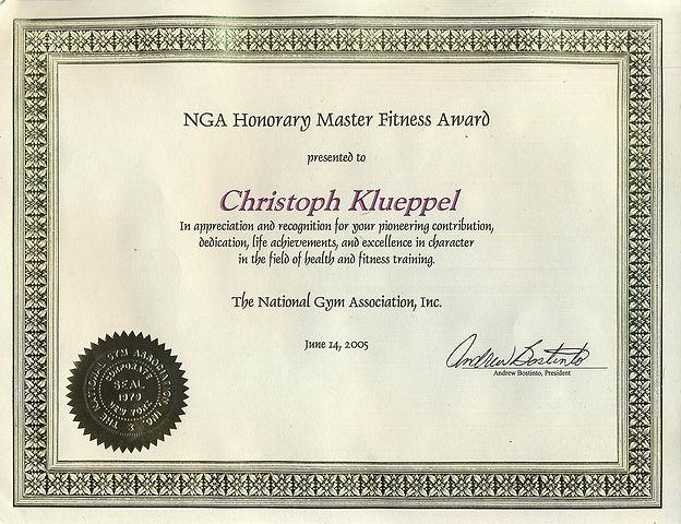 NGA Honorary Master Fitness Award,June 1