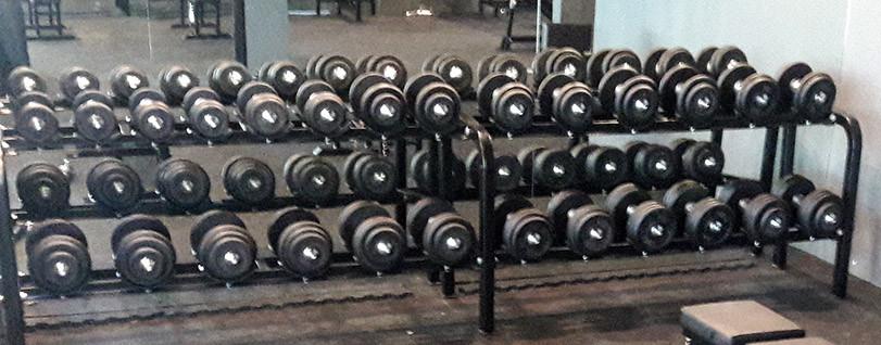 13 pair Dumbbell Set, 5 kg - 35 kg, incl. storage rack