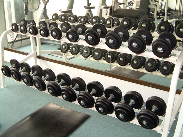 10 pair Dumbbell Set, 5 kg - 25 kg, incl. storage rack