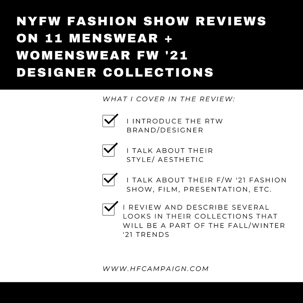 NYFW Fashion show reviews on 11 menswear and womenswear F/W '21 designer collections