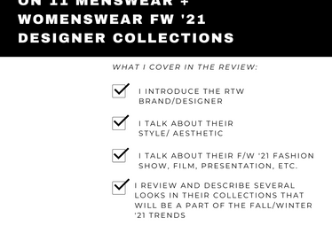 NYFW Fashion Show Reviews on 11  FW '21 Designer Collections (PART 1)