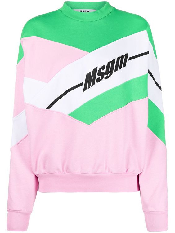 MSGM abstract print long-sleeve cotton sweatshirt