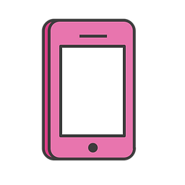 litte pink cellphone image symbol that says hf campaign, a digital business based in oceanside, ca in the phone symbol