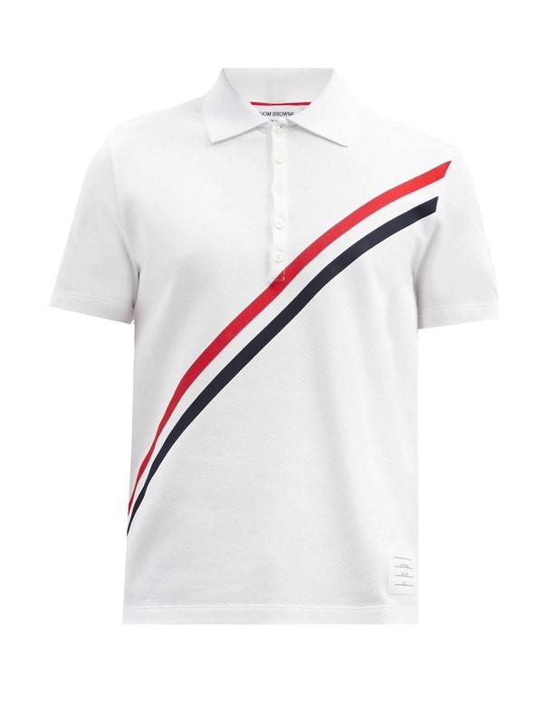 Thom Browne Tricolour-print cotton-piqué polo shirt