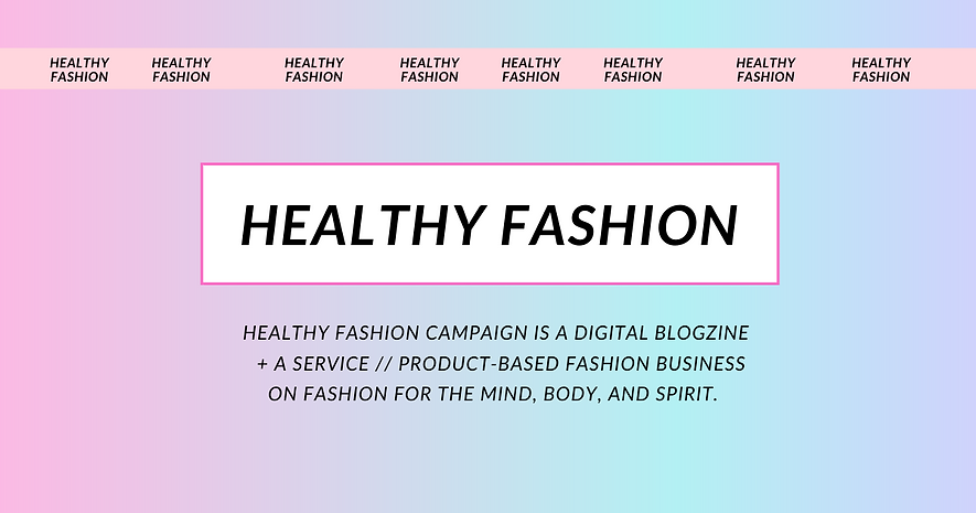 A Banner for healthy fashion campaign in a pink and blue holographic background