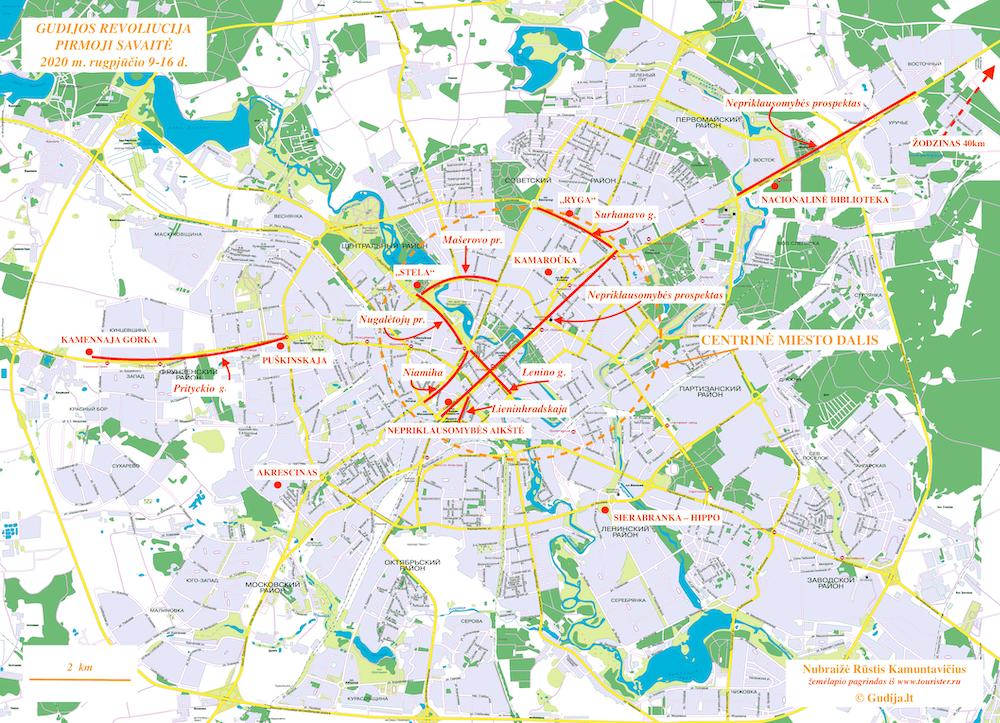 Gudijos revoliucija. Pirma savaitė. Minskas // Nubraižė Rūstis Kamuntavičius; žemėlapio pagrindas iš www.tourister.ru