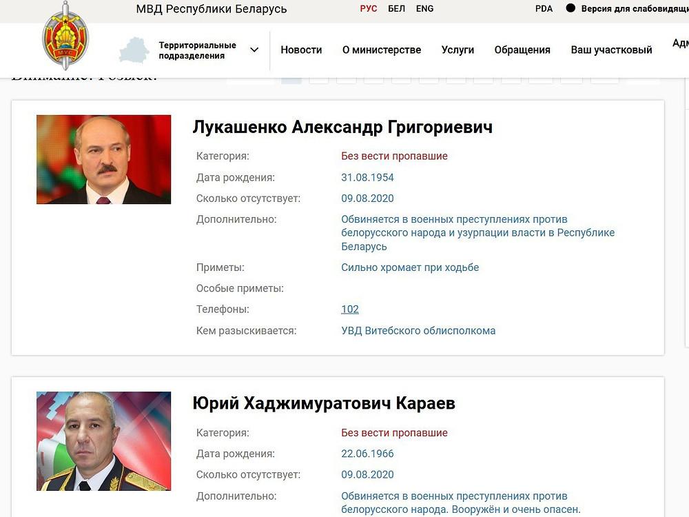"""""""Nulaužta"""" Baltarusijos Vidaus reikalų ministerijos svetainė. Nasha Niva iliustracija."""