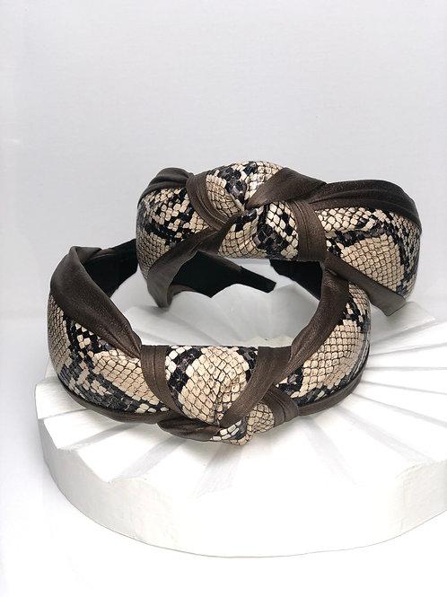 Brown Snakeskin Headband