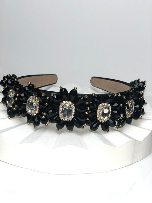 Black Sunflower Bling Headband