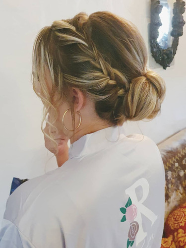 bridesmaid braided low bun