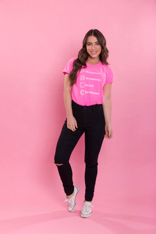 T-SHIRT PLAY HAPPINESS ROSA NEON