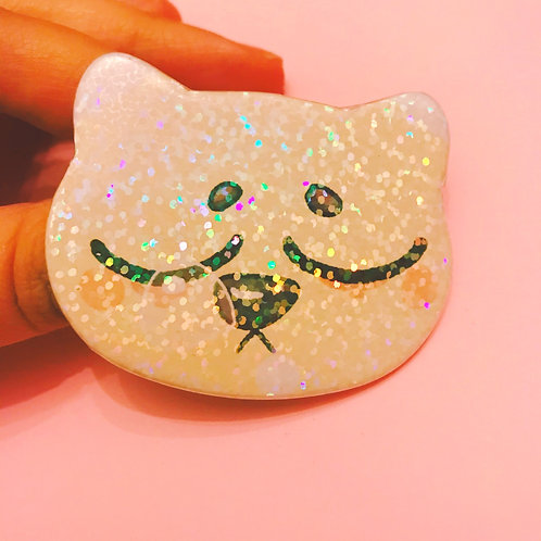 Sleepy Piper 60mm Wide Holo Cat Badge