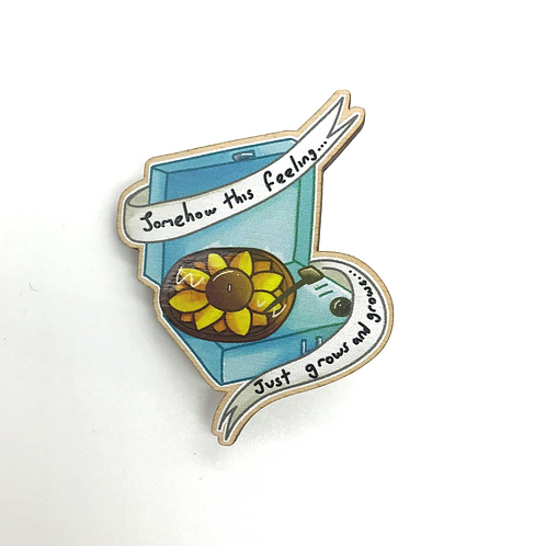 Sunflower Blue Vinyl Player Wooden Brooch Pin