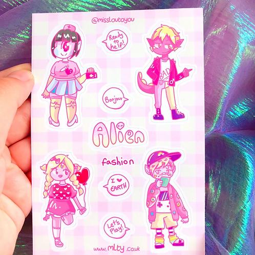 Alien Fashion A6 Sticker Sheet
