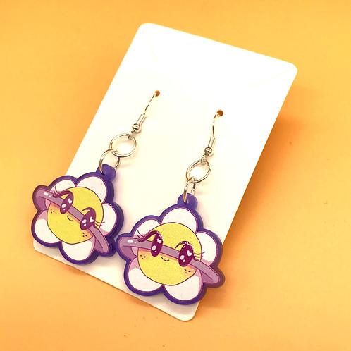 Daisy Planet Acrylic Hook Earrings