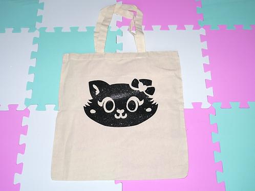 Glitter Missy Black Short Handle Tote Bag