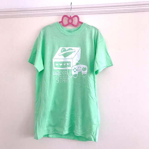 Press Start Screen Print Tee Mint